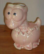 "BABY DINOSAUR Hatching from Egg Vase/Figurine 6"" pink ceramic"