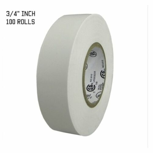 """TapesSupply 100 ROLLS WHITE ELECTRICAL TAPE 3//4/"""" X 66 FT"""