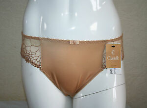SLIP-BRASILIANO-CHANTELLE-ICONE-CARAMEL-SATIN-amp-MESH-Tg-XL-BRAZILIAN-BRIEF