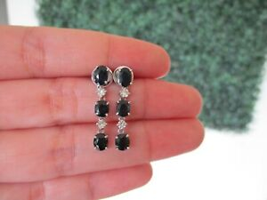 30-CTW-Diamond-w-Blue-Sapphire-Dangling-Earrings-14k-White-Gold-E498-sep