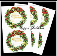 Vintage Gifted Line Victorian Christmas Wreath Gift Tags Stickers Lot 3 Sheets