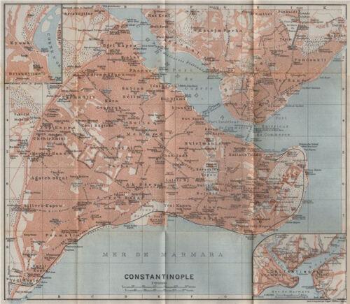 Galata Golden Horn ISTANBUL town city plan CONSTANTINOPLE Turkey 1911 map