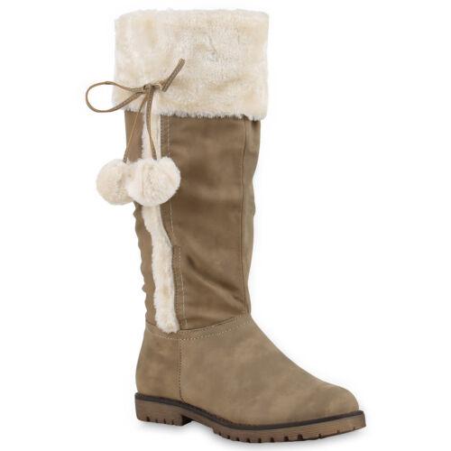 Warm Gefütterte Winterstiefel Damen Kunstfell Schleifen Stiefel 814047 Mode
