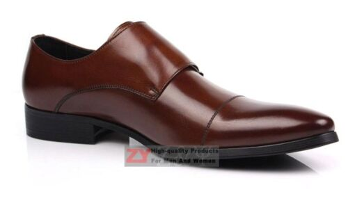 New Men/'s Real Leather Dress Formal Shoes Double Monk Strap Buckle Brown