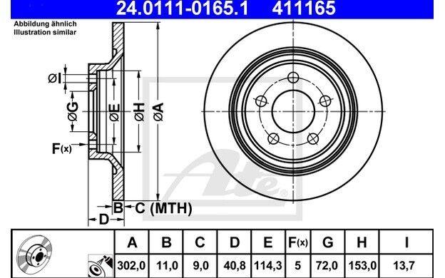 ATE Juego de 2 discos freno 302mm para MAZDA 5 YAMAHA MOTORCYCLES XTZ