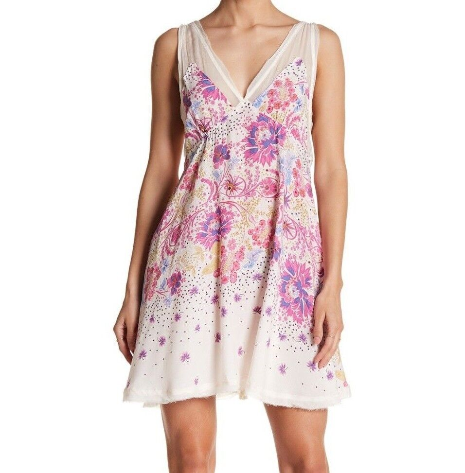 NWT FREE PEOPLE SzXS LONGWOOD ALL MIXED UP PRINTED SLIP DRESS IVORY COMBO