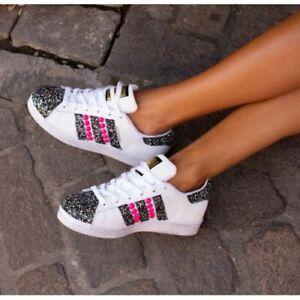 Avere a che fare con elefante Sfondamento  Adidas Superstar White Glitter Studs Fluorescent Pink [Product Custom Made]  Lite | eBay