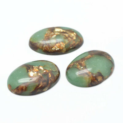 1 Pcs Oval Flat Back Gold Copper Stone & Regalite Cabochons Dyed 40mm x 30mm