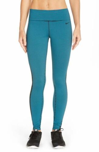 Nwt Nike dise azulado Legend's M para escotados de negro o esculpir de con verde rayas Sz Leggings mujer CrqR0dxr