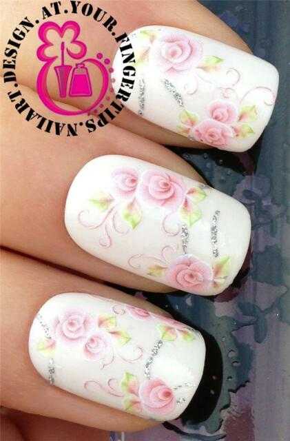 NAIL ART WATER TRANSFER DECALS STICKERS DECORATION SET ROSES SILVER GLITTER #201