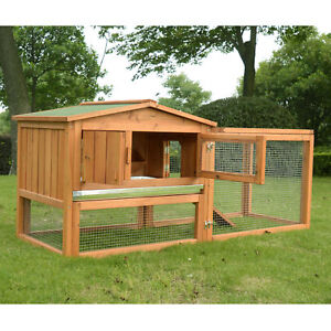 Pawhut Wooden Small Animal House Rabbit Hutch Bunny Cage w/ Backyard Run Ramp