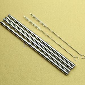 4pcs-Straight-Metal-Stainless-Steel-Drinking-Straws-2-Cleaner-Brush-New
