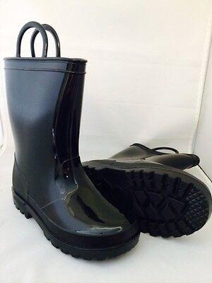 New Boys Black Rain Boots-Waterproof