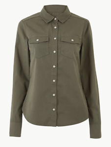 NEW-Ex-M-amp-S-Ladies-Khaki-Military-Stretch-Cotton-Shirt-Long-Sleeve-Sizes-6-22