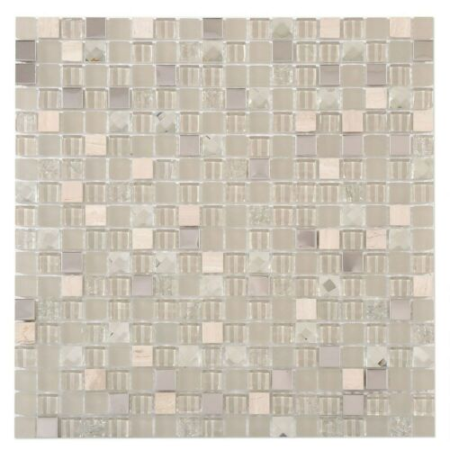 Grey Wall Mosaic Tile 30x30cm Glass Stone /& Metal 1 Tile per Box Matt /& Gloss