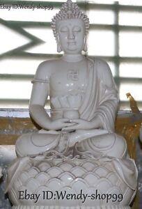 58cm-Dehua-White-Porcelain-Shakyamuni-Sakyamuni-Amitabha-Buddha-Lotus-Statue