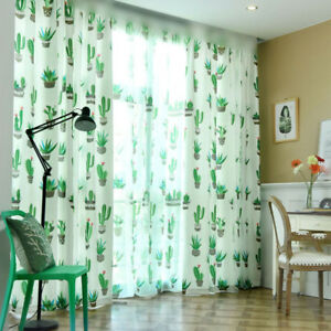 Image Is Loading Cacti Printed Curtains Living Room Shading Cloth Green