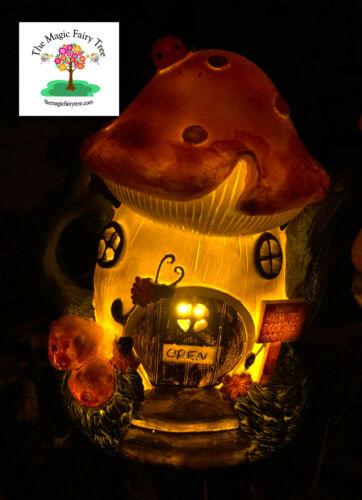 lights up at night Solar fairy garden pink teapot cafe tea house tea pot home