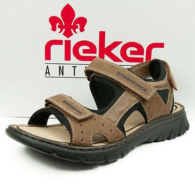 Rieker Herren Sandalen Sommer Schuhe mit Dreifach Klettverschluss Braun 26757 24 | eBay