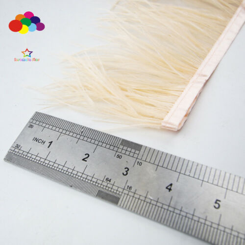 New 1//5//10 meters champagne Ostrich Feathers 8-15 cm//3-6 inch Fringe Ribbon Trim