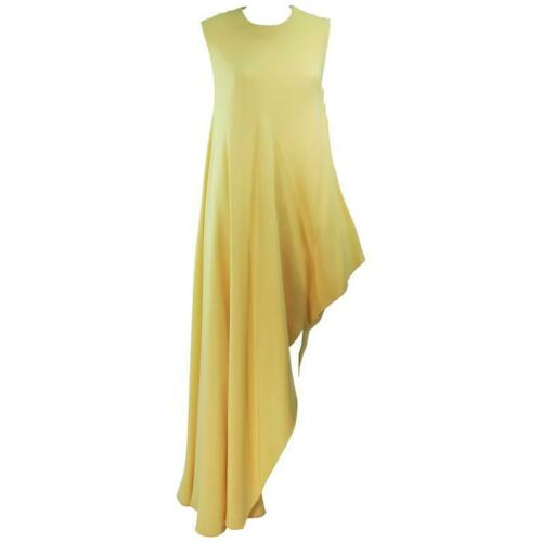 MADAME GRES 1960s Yellow Asymmetrical Gown