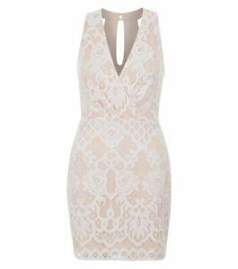 Parisian White Nude Pink Rose Crochet Plunge V Neck Lace Cami Bodycon Dress