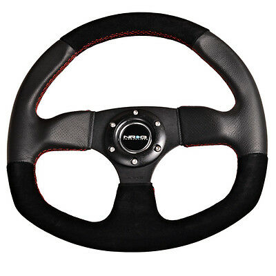 SALE NRG 320mm RACING SPORT STEERING WHEEL BLACK SUEDE RED STITCH & OVAL BOTTOM