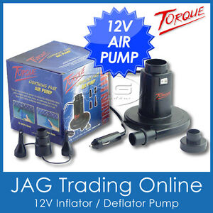 TORQUE 12V INFLATOR / DEFLATOR AIR PUMP for Inflatable Ski Tube/Biscuit/Air Bed