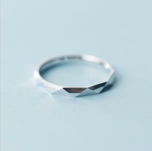 925 Sterling Silver 2mm Width Dainty Cutting Thin Band Knuckle Midi Ring A3491