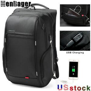"KINGSONS Men 17 "" Laptop Backpack USB Charge Anti-Theft Waterproof Travel Bag US"