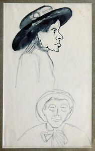 Fritz-Wimmer-1879-1960-2-Baeuerinnen-mit-Hut-1900-1910-Tusche-Zeichnung-Tracht
