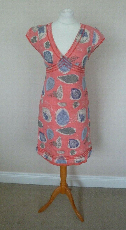 White Stuff Coral Orange Pink Beige Grey Leaf Print 100% Linen Dress Size 8 VGC