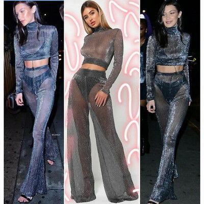 Ehrgeizig Ladies See Through 2pcs Shimmer Mesh Set Long Sleeves Top Palazzo Party Trousers