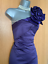 Karen-Millen-UK-10-Purple-Satin-Rose-Corsage-One-Shoulder-Wiggle-Cocktail-Dress thumbnail 2