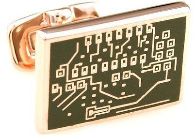 Jack Reagan Rose Gold Microchip Cufflinks Cuff Links Computer Programmer Tech