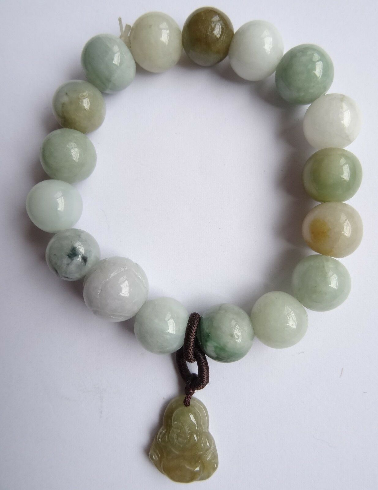 100% Pure Natural FeiCui Jade Maitreya Buddha Handmade Pearls Jewels Bracelet
