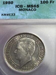 Monaco-100-Francs-1950-KM-E33-ICG-MS65-Gem-Uncirculated-Essai