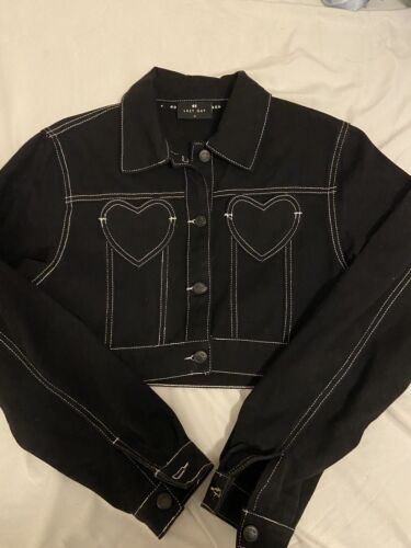 LAZY OAF Black Heart Denim Contrast Jacket