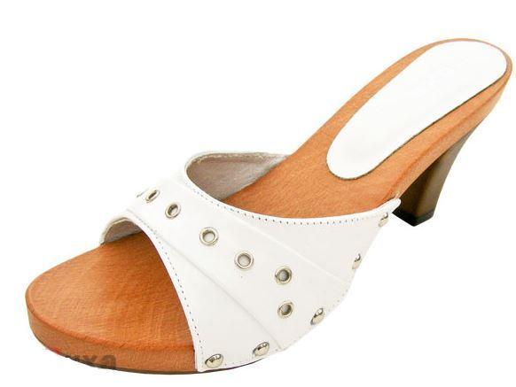 Wooden High-Heeled clogs Weiß color High-Heeled Wooden Elegant Größe 7.5 US - EU 38 0f8da2