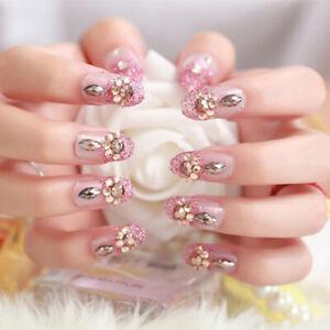24Pcs-wdding-false-nails-acrylic-UV-gel-french-fake-nails-art-tips-tool-SE
