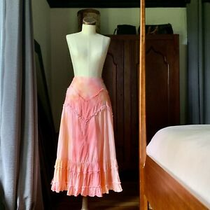DYED PETALS Eco-Dyed Upcycled Tie-Dyed Maxi Ruffle Skirt Pink M