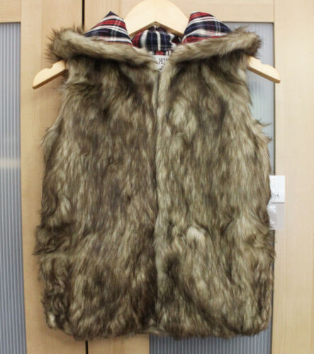 NWT Jak /& Peppar by Mustard Pie Hooded Gladiator Faux Fur Vest ~ Size 6