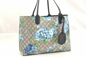 32071a822 Image is loading Authentic-GUCCI-GG-Blooms-Blossoms-Blue-Reversible-Leather-