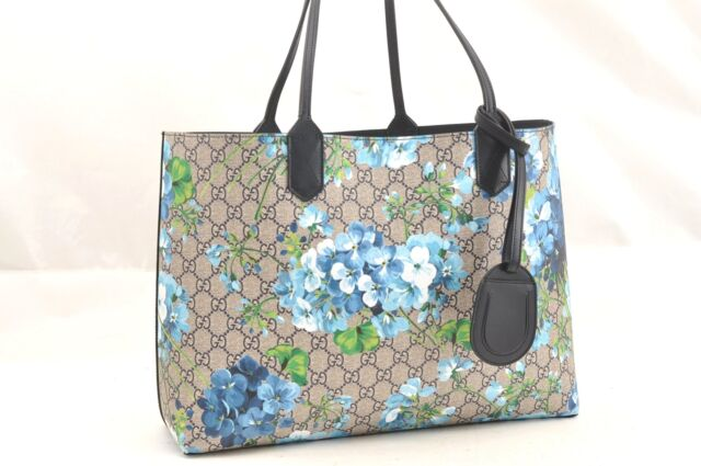 9045aab7d Authentic GUCCI GG Blooms Blossoms Blue Reversible Leather Tote Bag Box  63068