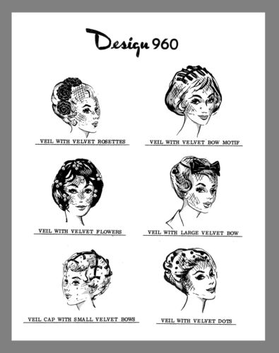 Vintage Laura Wheeler 6 Styles Veil Hats Fabric Material sewing pattern # 960