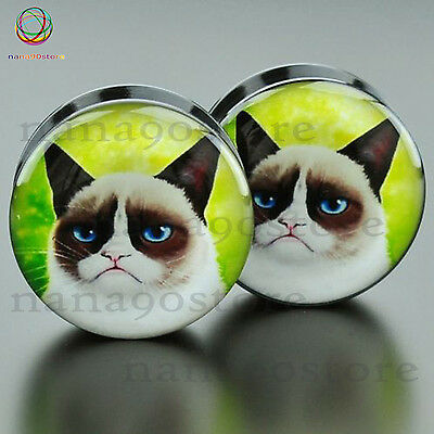 Pair Acrylic Grumpy Cat Face Ear Gauge Flesh Tunnel Plug Ear Expander Stretching