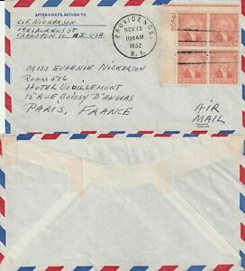 US-1952-COMMERCIAL-FLOWN-COVER-PROVIDENCE-RHODE-ISLAND-TO-PARIS-FRANCE