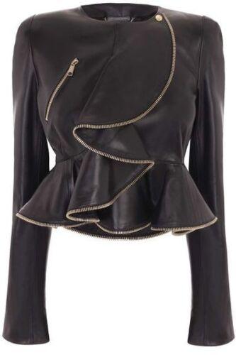 Women Natural Lambskin Leather Celebrity Inspired Leather Ruffle jacket