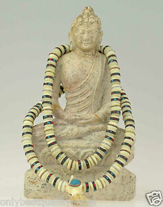 Mala-Halskette-Knochen-Schmuck-Tibet-Nepal-Gebetskette-Rosaire-Buddha-86e