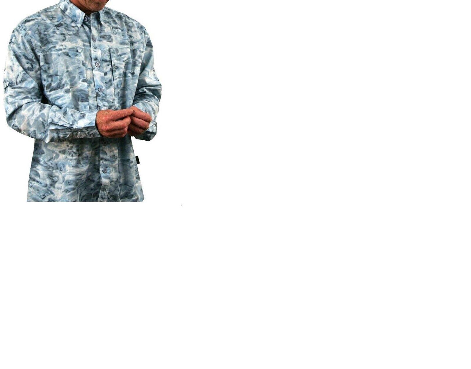 Aqua Design Saltwater Adventure Camo Fishing Shirt Aqua Sky  UV Predection  high quaity